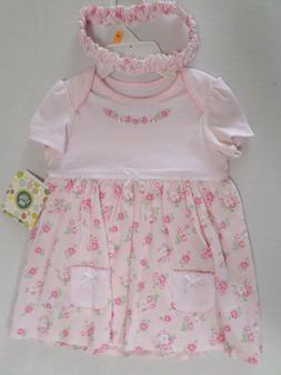 Little Me Girls Bodysuit-Dress & Headband Set Pink with Flow