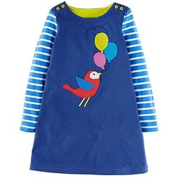 Girls Cotton Long Sleeve Casual Cartoon Appliques Striped Je