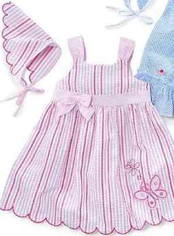 Little Bitty Girls Dress Bandana Hat 2 Piece Set Pink White