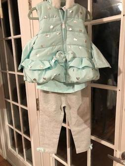 Little Me Girls Fleece Lined Jacket 3 Piece Outfit.  3T NWT.