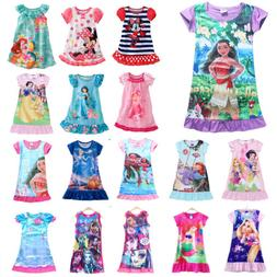 Girls Kids Cartoon Princess Dress Pyjamas Nightwear Nightgow