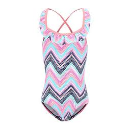 girls one piece swimsuits ruffle rainbow wave