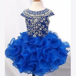 Girls Pageant Dresses Royal Blue White Little Kids Prom Part