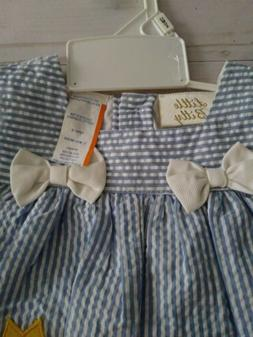 Little Bitty Girls Size 12 months Blue Stripped Romper NWT