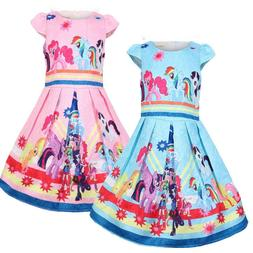 Girls Skater Dress Kids My Little Pony Print Summer Casual P