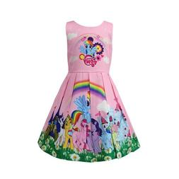 Girls Skater Dress Kids My Little Pony Rainbow  Party Birthd