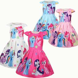 Girls Skater Dress Kids My Little Pony Print Casual Party Bi