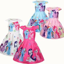 Girls Skater Dress Kids My Little Pony Print Summer Causual