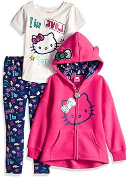 Hello Kitty Girls' Toddler 3 Piece Hooded Set with T-Shirt a