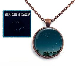 Glow in the Dark Big Dipper Little Dipper Necklace or Key Ch