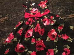 GORGEOUS Black Red Roses Bow Little Girls Holiday Party Dres