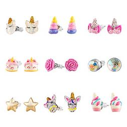 SkyWiseWin Hypoallergenic Earrings Set for Little Girls Chil