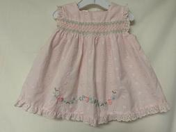 Little Bitty Infant Girl 12 Mo. Pink Eyelet Smocked Dress