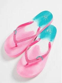 Justice Watermelon Charm Pink Sparkle Flip Flops Little Girl