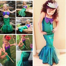 Kid Girls Cute Little Mermaid Set Princess Dress Party Cospl