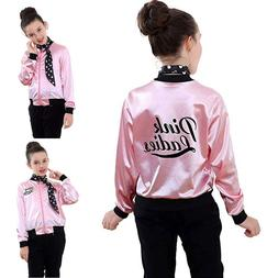 Kid Little Girls Pink Ladies Print Jacket Child Retro 50S Zi