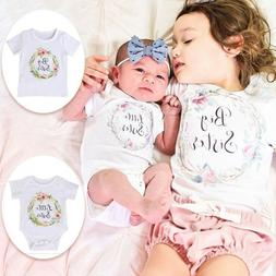 Kids Baby Girls Matching Tops Big Little Sister Romper T shi