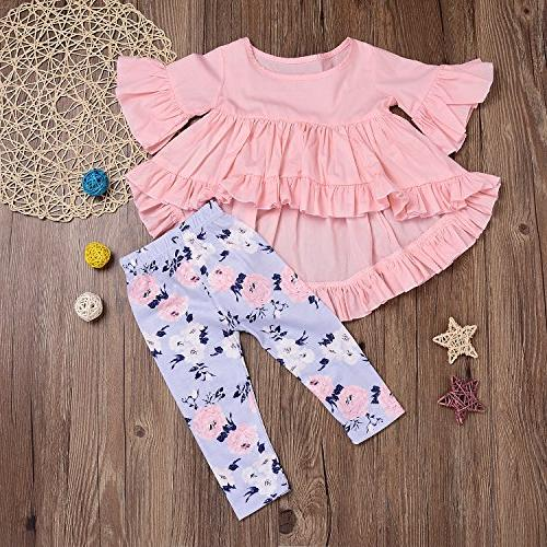 HappyMA 2PC Outfit Irregular And Floral Pants Pink