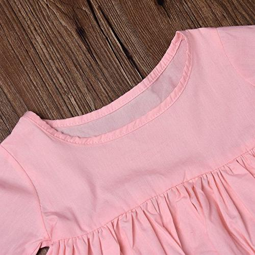 HappyMA 2PC Baby Outfit Set Pink Ruffle Irregular And Pink