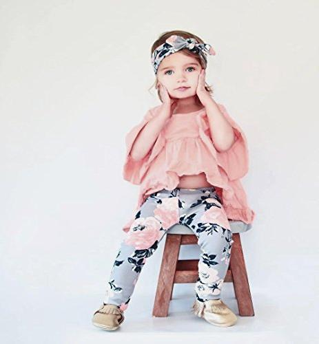 HappyMA Baby Outfit Set Pink Irregular Blouse Top And Floral Pink