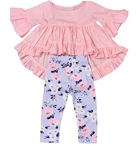 2pc baby girls outfit set pink ruffle