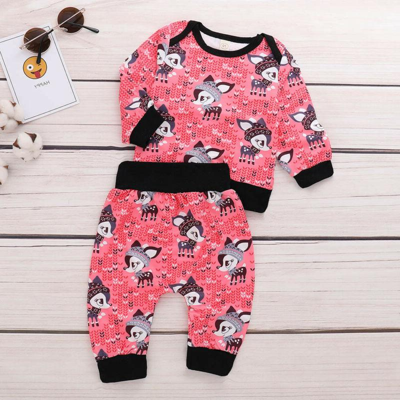 2PC Baby Little Print Sleeve Top Pants Outfits Set