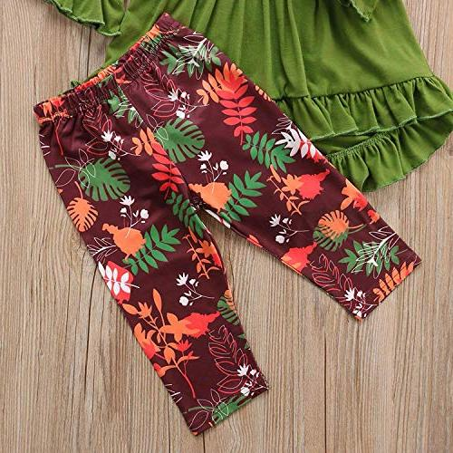 2PC Toddler Little Girls Ruffle Flare Top Clothes