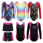 3-15Y Shiny Gymnastics Leotards Sport Training Dancewear Top