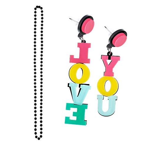 Jetec 80s Costume Set Necklace Leg Warmers Earrings Gloves Skirt T-Shirt Party Accessory