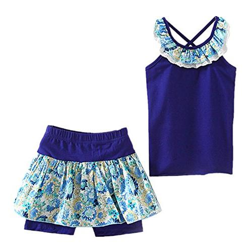LittleSpring Little Girls' Shorts Set Summer Flower Sleveles