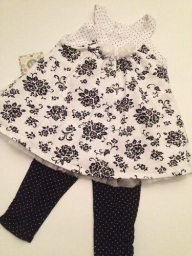 Little Me Baby Girl Dress Leggings Outfit Set Size 18 24 Mon
