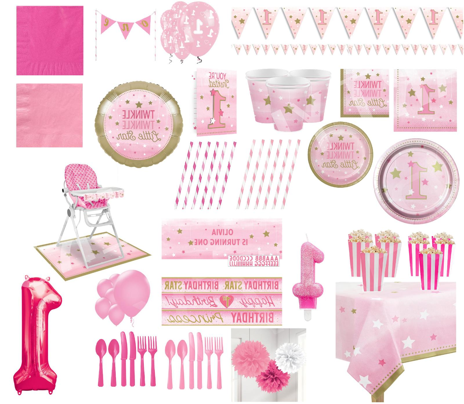baby girl pink star 1st birthday party