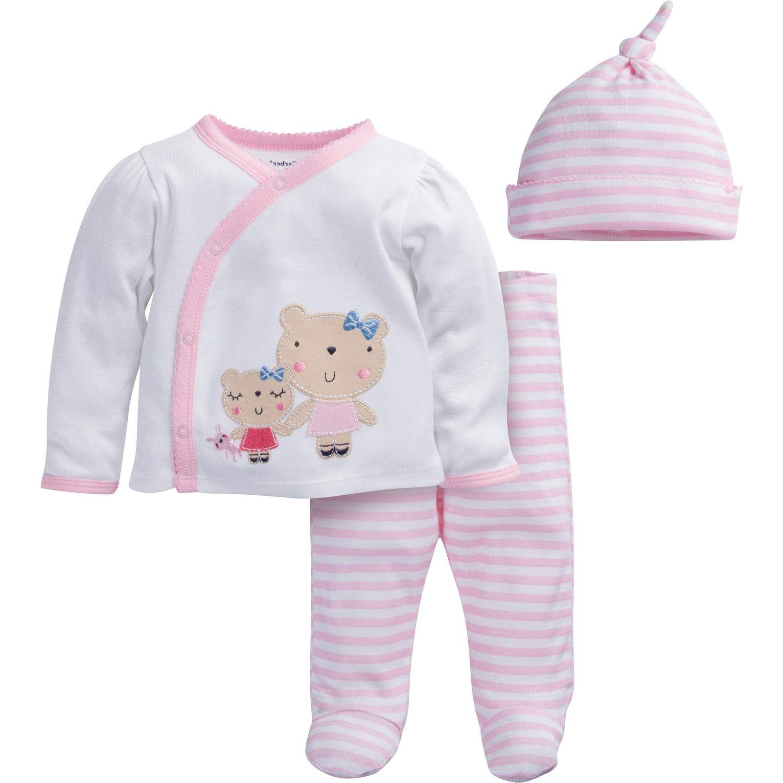 Gerber Baby Girls 3 Piece Set Take-Me-Home Outfit Various Si