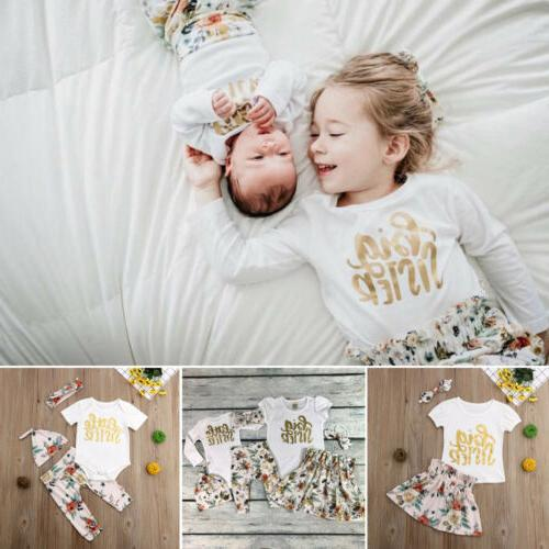 Baby Girls Matching Clothes Little/Big Romper Pants Dress Outfits