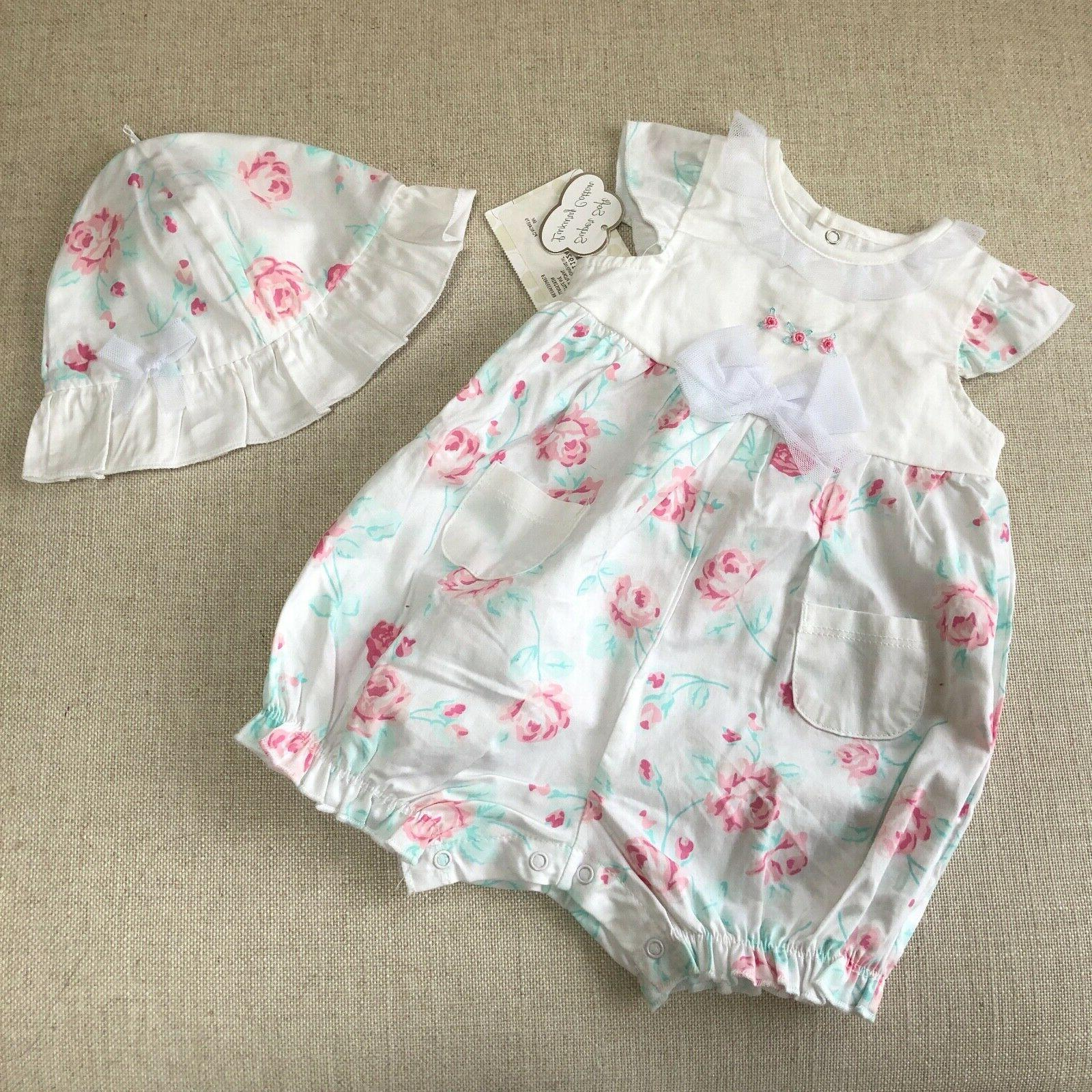 baby girls pink roses flowers romper fanciful