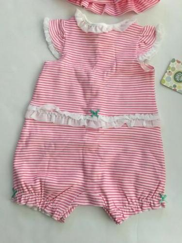 Little Me Baby Romper Outfit Size 3 Months Pink Whale Layette