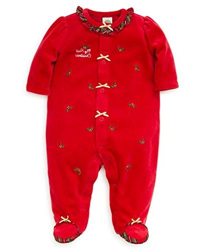 baby girls velour footie holly plaid christmas
