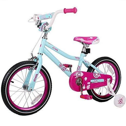 JOYSTAR 16 Inch 4 6 Years Children Bicycle Hand & Wheels, 95% Assembled - Ice Blue