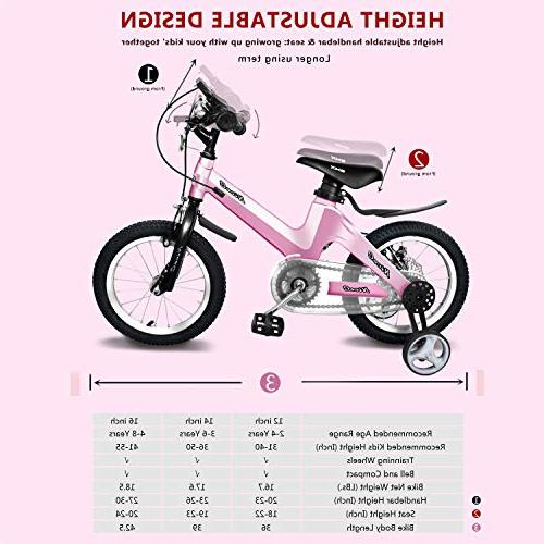 """NiceC BMX Kids with Dual Disc Brake for Boy Girl 14"""" 16"""" Training for Ages 3-8"""
