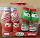 Christmas Booties Socks Infant Boy Girl 0-12M Little Me Sant