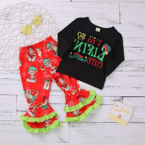 Christmas Outfit Toddler Baby Girls Long Tunic Ruffle Holiday 2Pc