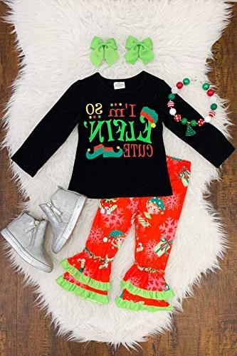 Christmas Baby Girls Sleeve Tunic Top Holiday Novelty Clothes 2Pc