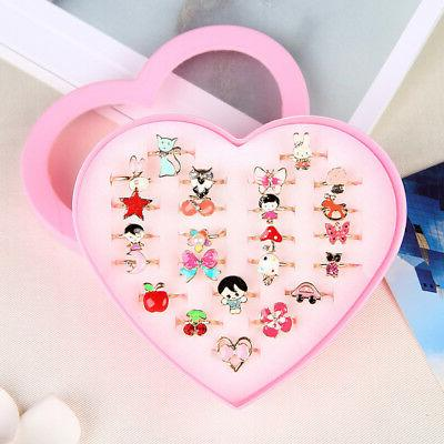 cute kids cartoon rings lovely little girls
