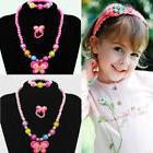 EP_ 3Pcs Child Girls Duck Butterfly Bead Ring Necklace Brace