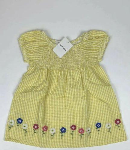 girls 2t short sleeve yellow floral blouse