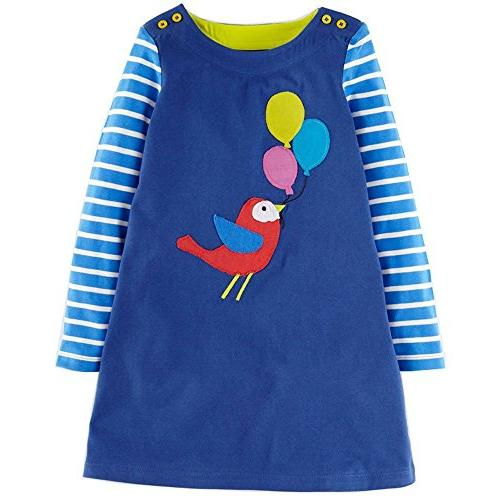 girls cotton long sleeve casual cartoon appliques