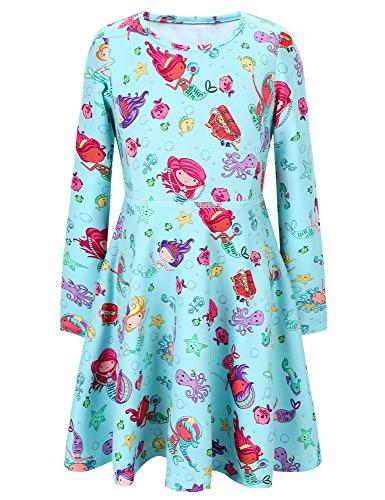 girls dress sweet dress mermaid print long