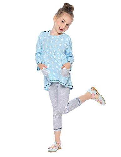 Balasha Girls Outfits Bunny Print Sets Top Leggings