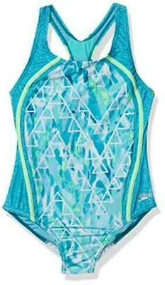 Speedo Girls' Swimsuit-Printed One Piece, Capri Breeze,  Siz