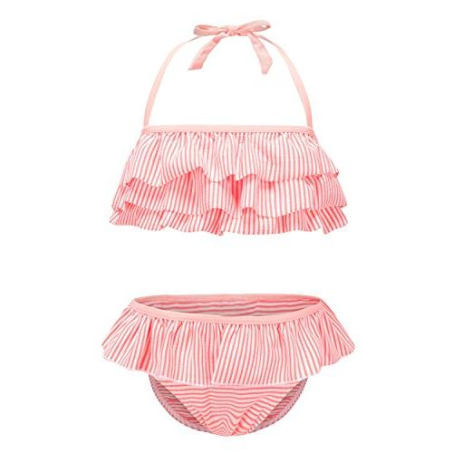 girls two piece bikini swimsuit striped ruffle